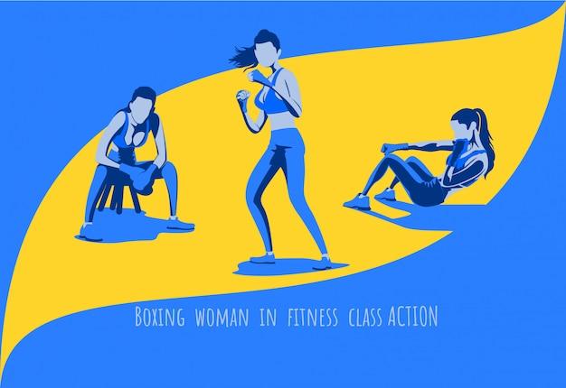Kobieta Treningu Bokserskiego W Klasie Fitness Zestaw Znaków. Premium Wektorów