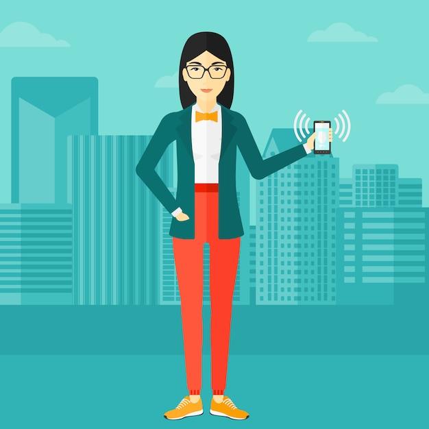 Kobieta Trzyma Dzwonek Telefonu Premium Wektorów