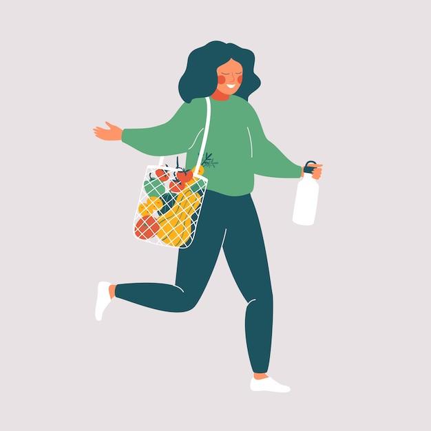 Kobieta Trzyma Kubek Wielokrotnego Użytku I Torby Ekologiczne Ze świeżą żywnością. śliczna Dziewczyna Robi Zakupy Bez Marnotrawstwa. Ilustracji Wektorowych Premium Wektorów