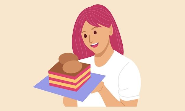 Kobieta Trzyma Tort Urodzinowy Premium Wektorów