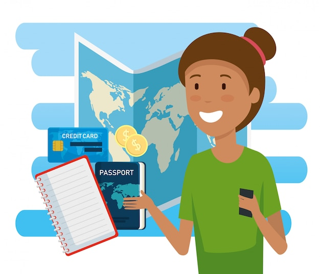 Kobieta turysta z globalną mapą i paszportem Darmowych Wektorów