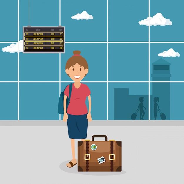 Kobieta Turystycznych Z Walizką Na Lotnisku Darmowych Wektorów
