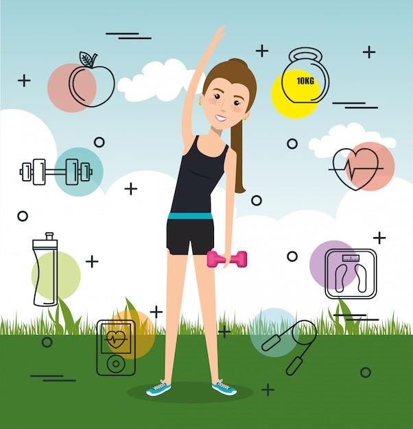 Kobieta Uprawiająca ćwiczenia Lub Sport Darmowych Wektorów