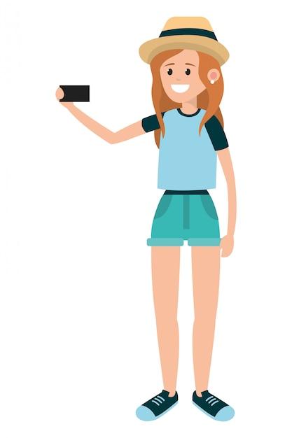 Kobieta używa smartphone dla selfie Premium Wektorów