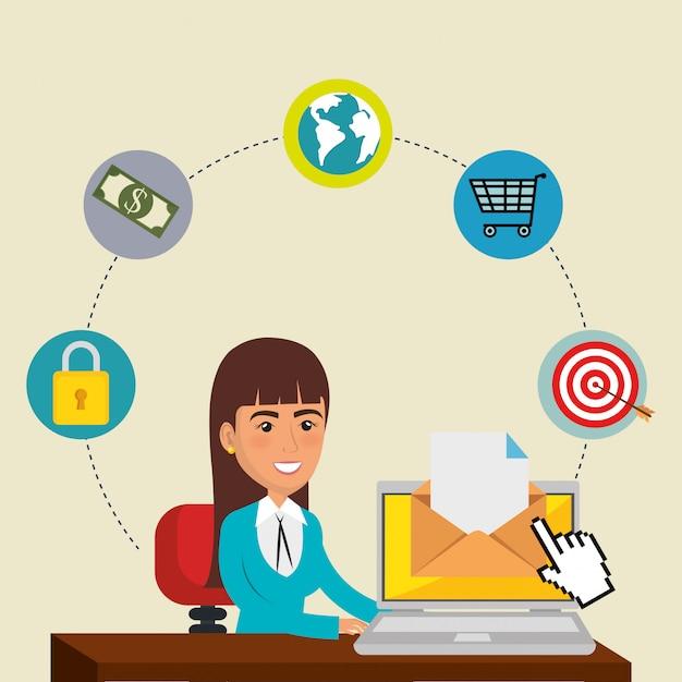 Kobieta w biurze z e-mail ikonami marketingu Darmowych Wektorów