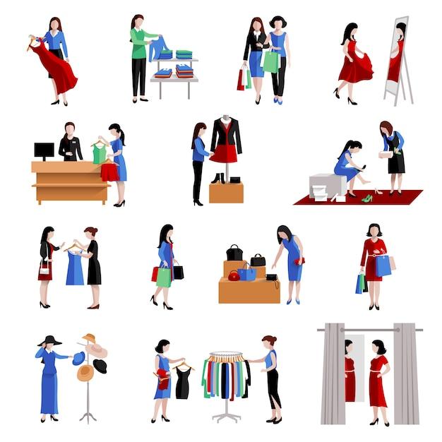 Kobieta w centrum handlowego kupując zestaw ikon towarów moda Darmowych Wektorów