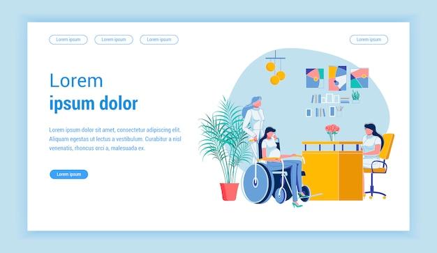 Kobieta W Ciąży Na Wózku Inwalidzkim W Biurze Lekarzy Premium Wektorów