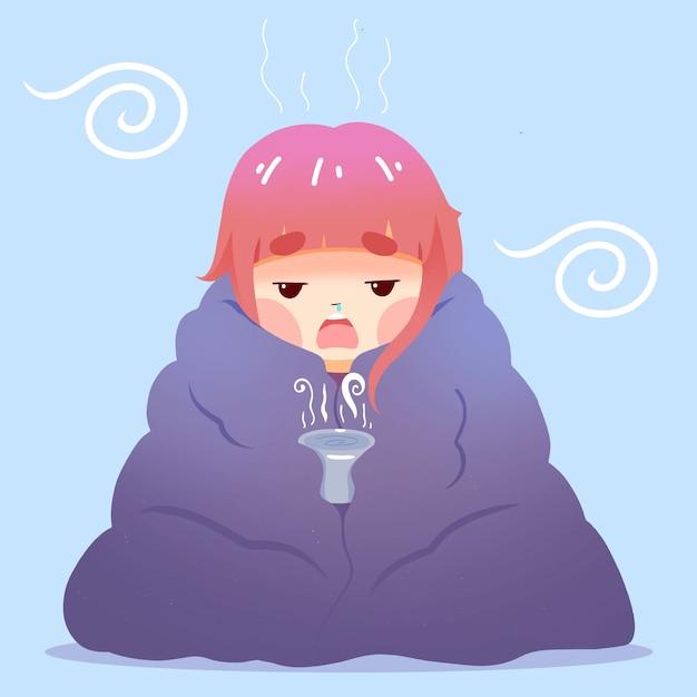 Kobieta W Koc Ma Przeziębienie Darmowych Wektorów