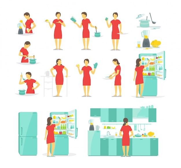 Kobieta w kuchni zestaw różnych pozach. przygotowywanie posiłków na receptę. Premium Wektorów