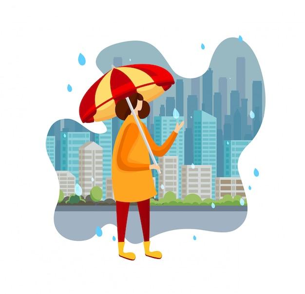 Kobieta W Pelerynie I Butach Trzyma Parasol Przy Deszczem. Premium Wektorów