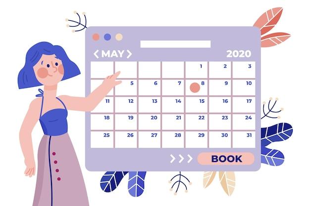 Kobieta W Spódnicy I Zorganizowany Kalendarz Darmowych Wektorów