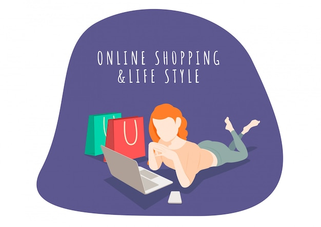 Kobieta W Stylu życia, Zakupy Online Z Telefonem Komórkowym I Laptopem. Zakupy Online I Marketing. Premium Wektorów