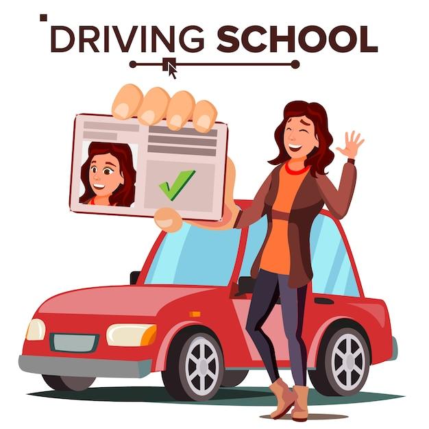 Kobieta W Szkole Nauki Jazdy Premium Wektorów