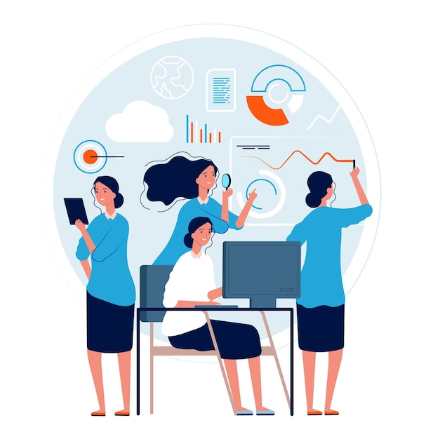 Kobieta Wielozadaniowość. Działanie Pani Biznesu Sprawia, że Wiele Procesów Zarządzania Zadaniami Projektowymi Jest Dobrą Umiejętnością Pracy Premium Wektorów