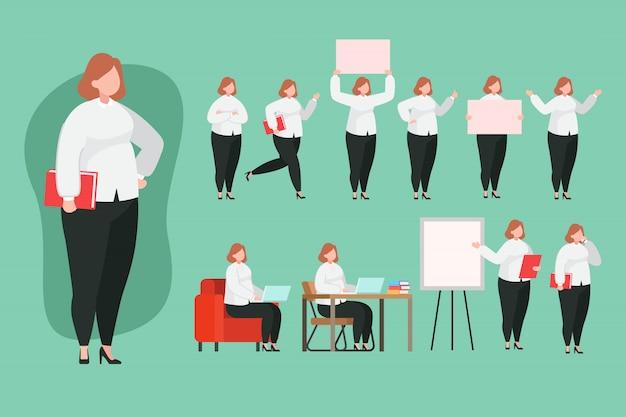 Kobieta Wykładowcy Charakteru Ustalona Płaska Ilustracja Premium Wektorów