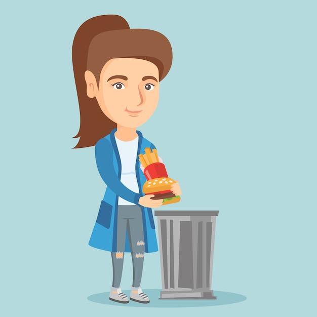 Kobieta Wyrzucając śmieciowe śmieci Do Kosza. Premium Wektorów