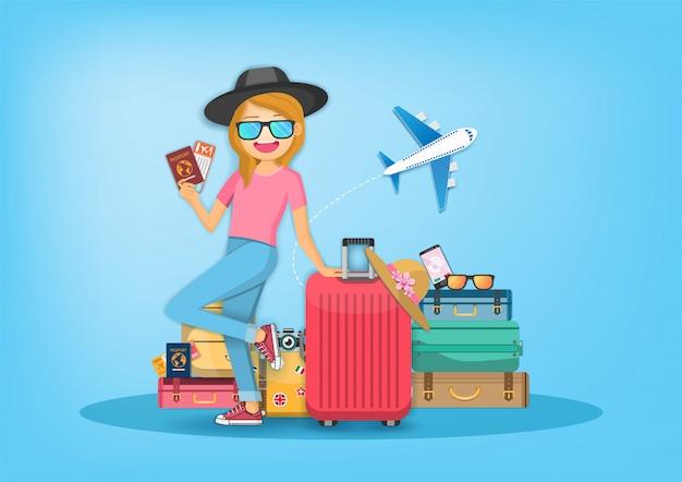 Kobieta z bagażem Premium Wektorów