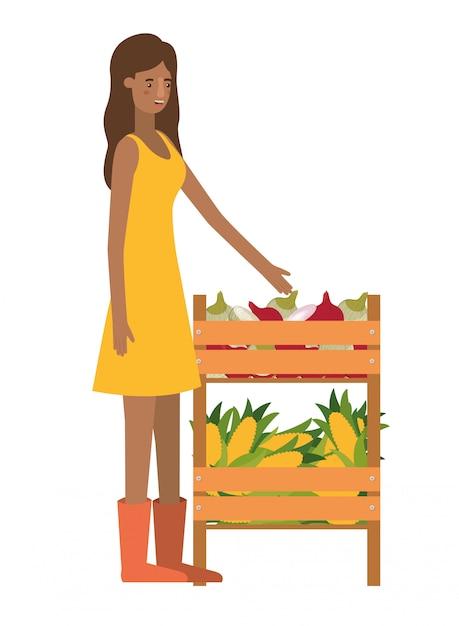 Kobieta z drewnianym koszyku z postacią awatara Premium Wektorów