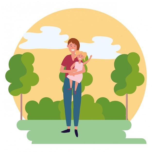 Kobieta z dzieckiem okrągły ikona Premium Wektorów