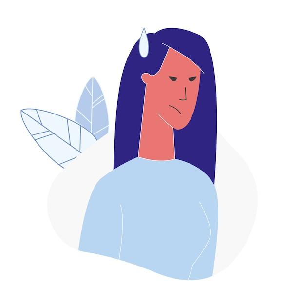 Kobieta z gniewnej twarzy płaską wektorową ilustracją Premium Wektorów