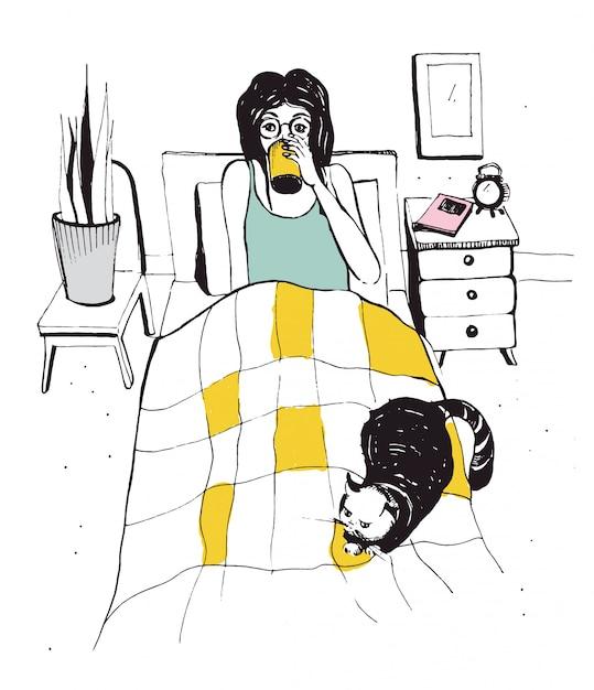 Kobieta Z Kotem Na łóżku. Wektorowa Ręka Rysująca Ilustracja. Premium Wektorów