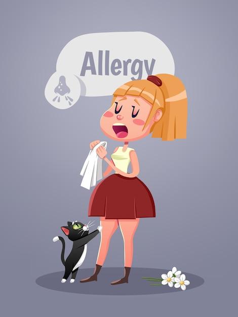 Kobieta Z Objawem Alergii Dmuchanie Nosa. Ilustracji Wektorowych Premium Wektorów