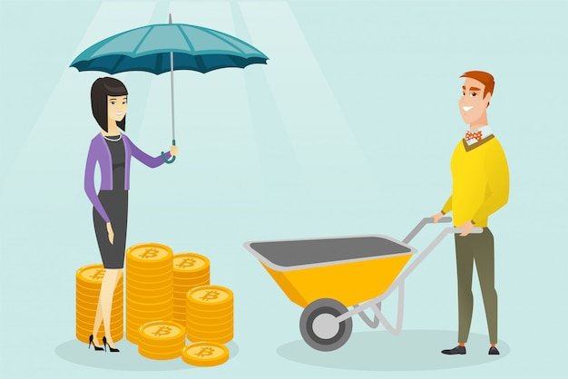 Kobieta Z Parasolowymi Chroni Bitcoin Monetami. Premium Wektorów