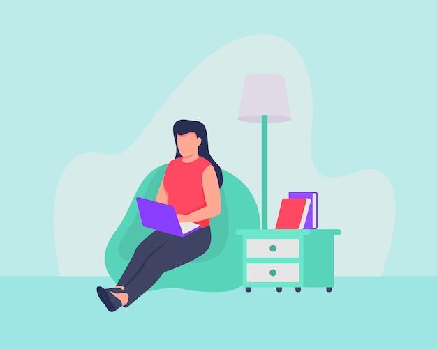 Kobieta Z Pracy Domu Koncepcji, Którzy Siedzący Na Kanapie Używają Laptopa Premium Wektorów