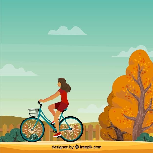 Kobieta Z Rowerem I Jesienny Krajobraz Darmowych Wektorów