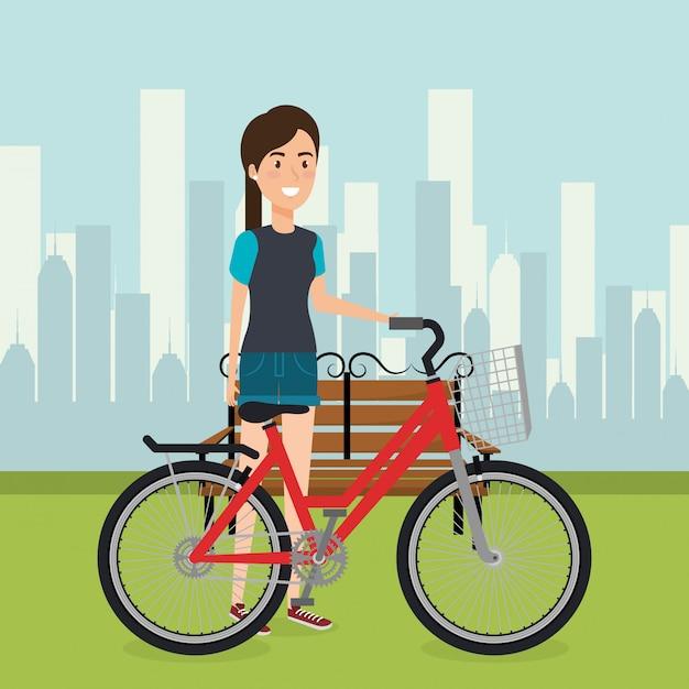 Kobieta z rowerem w krajobrazie Darmowych Wektorów