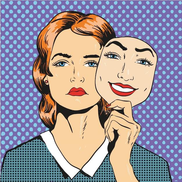 Kobieta z smutną nieszczęśliwą twarzy mienia maski fałszywym uśmiechem. ilustracja w komiksowym stylu retro pop-art Premium Wektorów