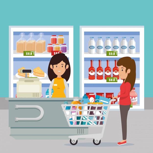 Kobieta Z Supermarketów Spożywczych Darmowych Wektorów
