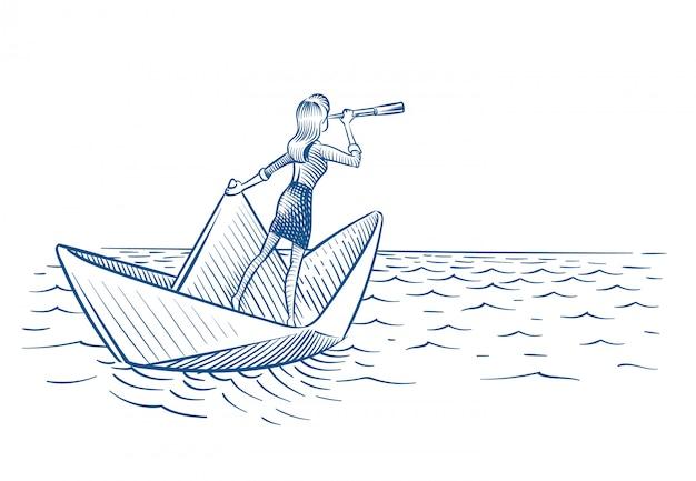 Kobieta Z Teleskopu żeglowaniem Na Papierowej łodzi Premium Wektorów