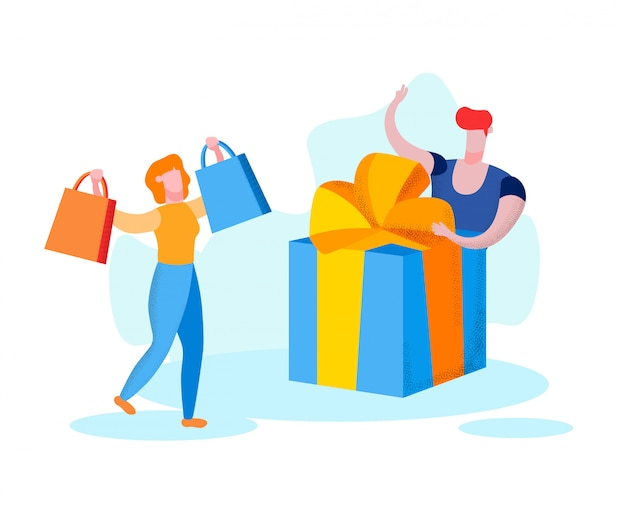 Kobieta z torbami w rękach i mężczyzna z prezenta pudełkiem. Premium Wektorów