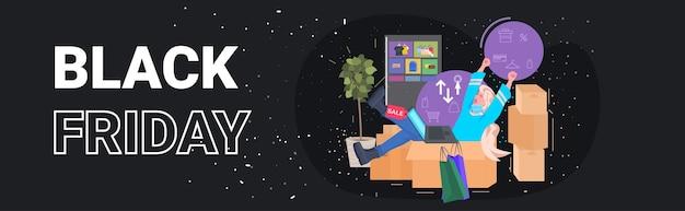 Kobieta Za Pomocą Laptopa Kupując Online W Aplikacji Komputerowej Czarny Piątek Koncepcja Wielkiej Sprzedaży Pełnej Długości Poziomej Ilustracji Wektorowych Premium Wektorów
