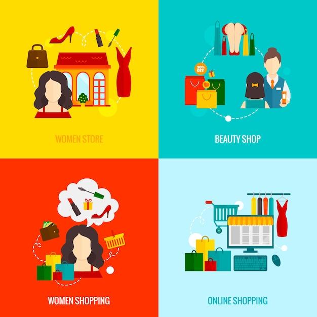 Kobieta Zakupy Mieszkania Darmowych Wektorów