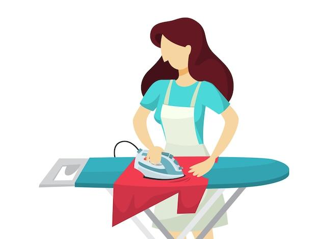 Kobieta żelaza Ubrania Na Desce Do Prasowania Premium Wektorów