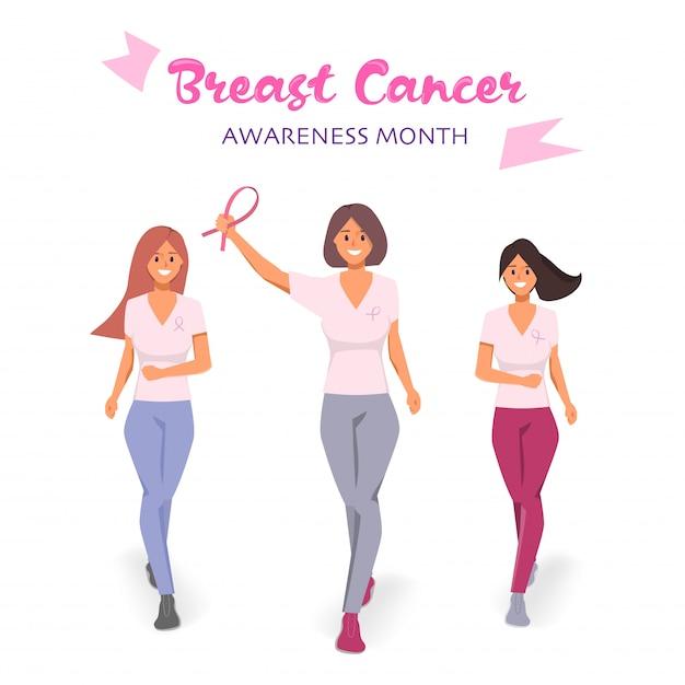 Kobiety biorące udział w kampanii na miesiąc walki z rakiem piersi. Premium Wektorów