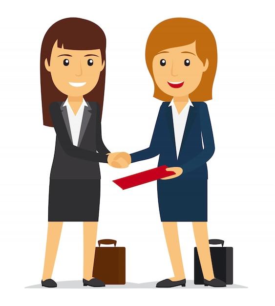 Kobiety biznesu, ściskając ręce Premium Wektorów