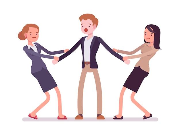 Kobiety ciągnące mężczyznę Premium Wektorów