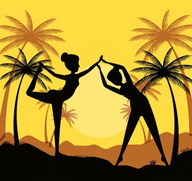 Kobiety ćwiczą jogę z palmami i górami Darmowych Wektorów