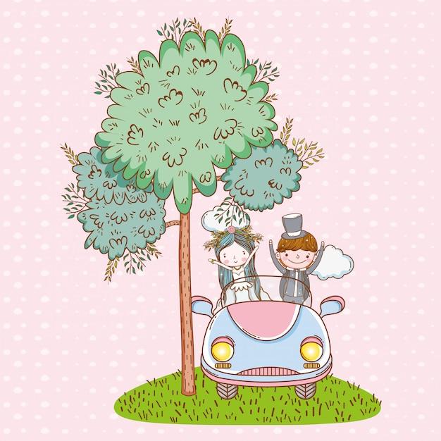 Kobiety i mężczyzna ślub w samochodzie z chmurami Premium Wektorów