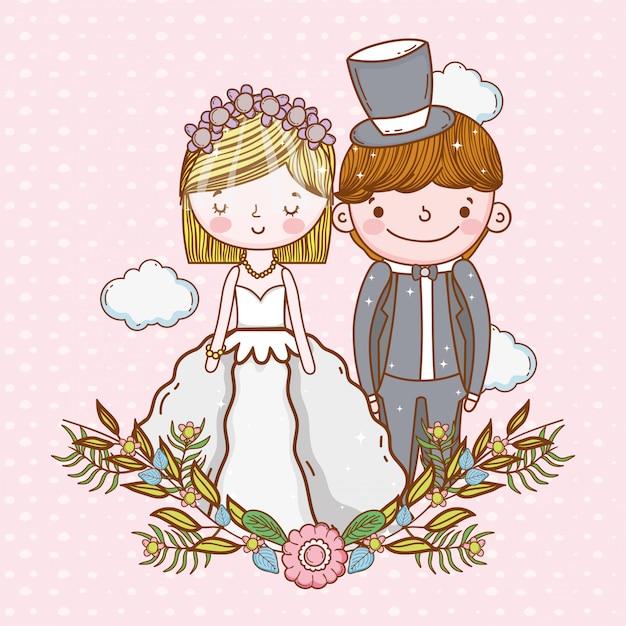 Kobiety i mężczyzna ślub z chmurami i roślinami opuszcza Premium Wektorów