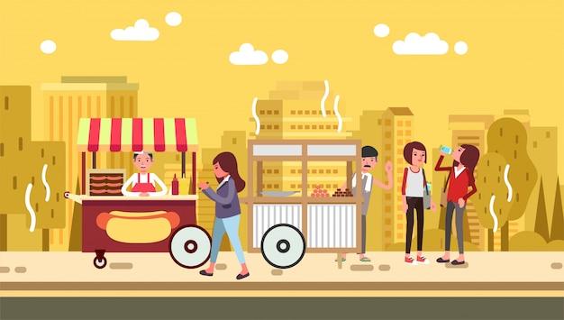 Kobiety Je Hamburger Podczas Gdy Chodzący W Ulicie Pełno Uliczny Jedzenie W Lato Gorącego Dnia Ilustraci Premium Wektorów