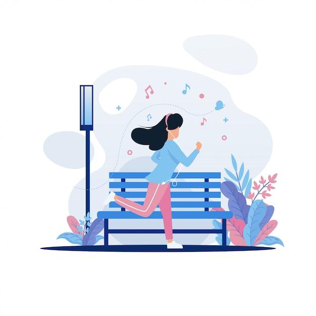 Kobiety jogging w parkowej ilustraci Premium Wektorów