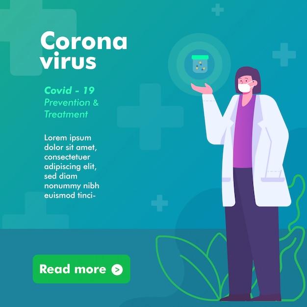 Kobiety Lekarka Daje Informację O Zapobieganiu I Leczeniu Ilustracyjnym Wirusa Koronowego. Szablon Baneru Społecznościowego Instagram Post Banner Premium Wektorów