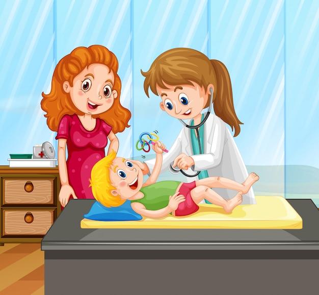 Kobiety lekarka daje małego chłopiec traktowaniu Darmowych Wektorów