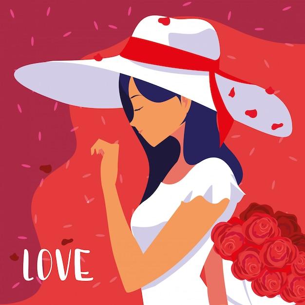 Kobiety moda z kapeluszem i bukietem w miłości plakacie Premium Wektorów