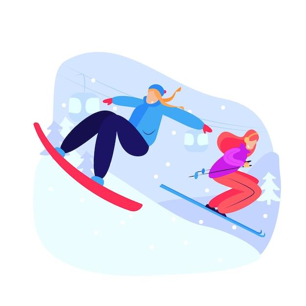 Kobiety na snowboardzie i zjazd na nartach Darmowych Wektorów