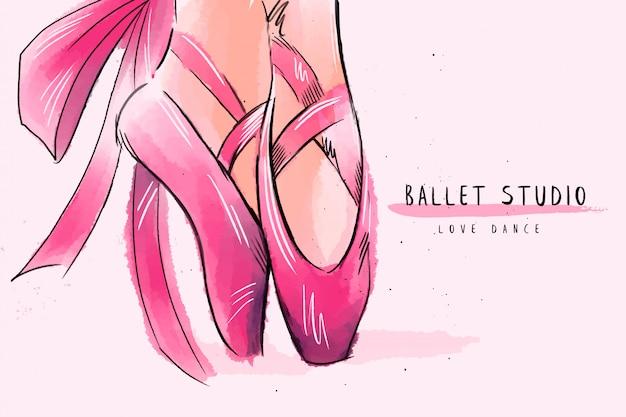 Kobiety Nogi Baleriny Tło. Premium Wektorów